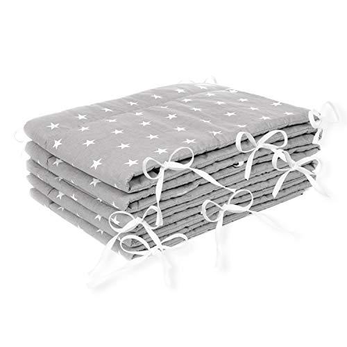 Amilian® Bettumrandung Nest Kopfschutz Nestchen 420x30cm, 360x30cm, 180x30 cm Bettnestchen Baby Kantenschutz Bettausstattung Sternchen grau (420x30cm)