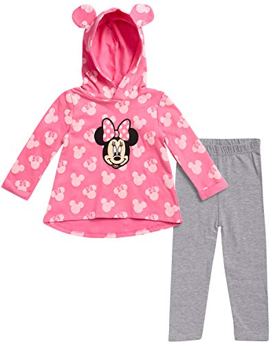 Disney Baby Girls Minnie Mouse 2-Piece Hoodie and Leggings Pants Set (Newborn and Infant), Pink-Heather Grey Minnie, Size 6-9M