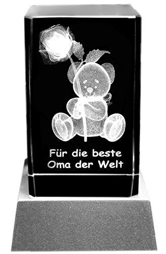 Kaltner Präsente Stimmungslicht – Ein ganz besonderes Geschenk: LED Kerze/Kristall Glasblock / 3D-Laser-Gravur Teddy Rose/Für die beste Oma der Welt