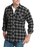 JEETOO Mens Buffalo Plaid Shirts Long Sleeve Flannel Shirt for Men Casual Button Down Grey Bufflao Plaid XL