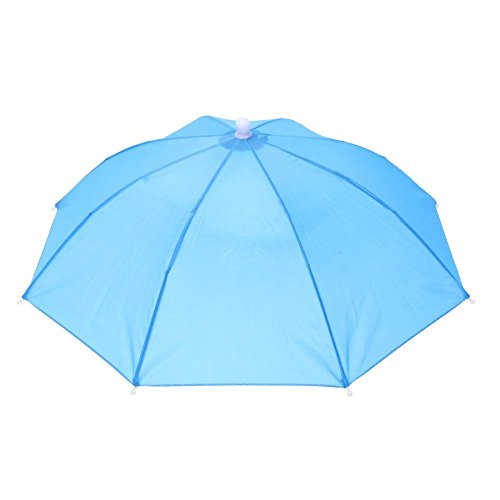 Broadroot Kopf-Regenschirm, Anti-Regen, zum Angeln, als Sonnenschirm, Hut für Erwachsene Einheitsgröße himmelblau