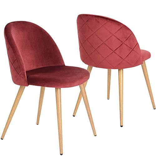 Coavas Sedie da Pranzo Cuscino in Velluto Morbido Seduta e Schienale con Stile in Legno Gambe in Metallo robuste Sedie da Cucina per sedie da Pranzo e Soggiorno Set di 2, Bordeaux