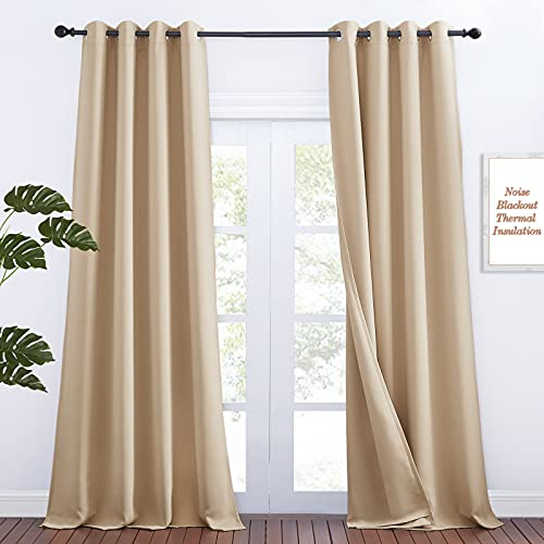 NICETOWN Noise Reducing Room Divider Curtains High Ceiling Window, Privacy & Completely Shaded Sound Blocking Drapes, Lined Insulated Window Treatment Panels (Biscotti Beige, 2 Pieces, W52 x L108)