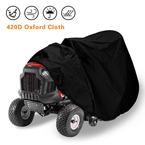 ASHLEYRIVER Riding Lawn Mower Cover - Heavy Duty 400D Polyester Oxford Waterproof, UV Protection Universal Fit with Drawstring & Cover Storage Bag-Black