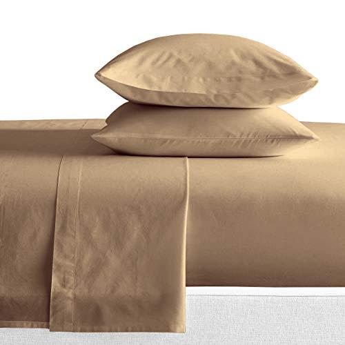 SGI bedding Short Queen Sheets Luxury Soft 100% Egyptian Cotton - Sheet Set for Short Queen Mattress Taupe Solid 600 Thread Count Deep Pocket…