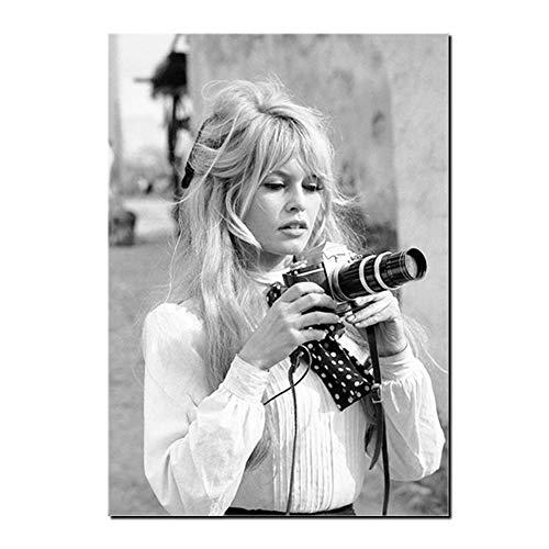 Karen Max Brigitte Bardot Französisch Mode Poster Leinwand Kunstdrucke, Modell Foto Vintage Bild Malerei Wanddekor (32x48inch-80x120cm)