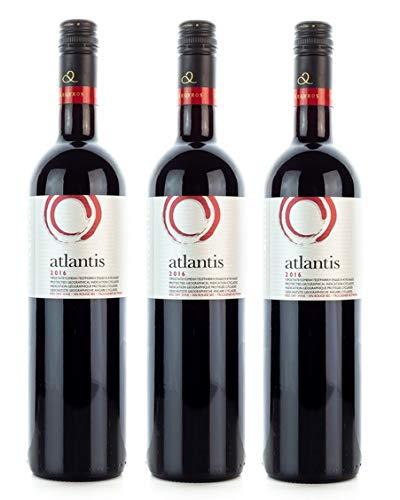 3x 750ml Atlantis Rotwein trocken vollmundig Santorini Argyros griechischer Rot Wein Set + 10ml Olivenöl von Kreta zum Test