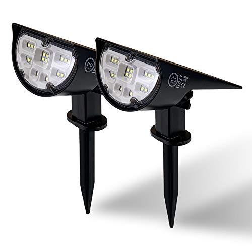 Solarlampen für außen, LED Solarstrahler Außen mit Erdspieß, 2 Helligkeitsstufe solar gartenleuchte, 18 LEDs 6000K IP65 Wasserdichte Wandleuchte Pflanzenstrahler für Patio Pfad Hof Garten (2er Pack)