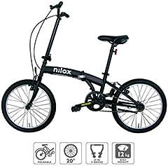 "Nilox Micro Bike 20P-X0 Bicicleta (Plegado, Completo, Acero, 50,8 cm (20""), Cadena), Unisex Adulto, Negro"