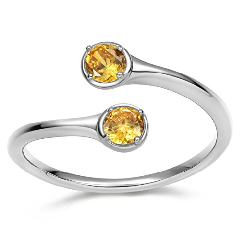 Eros & Roma Damen Offen Verstellbar Geburtsstein Ringe 925 Sterling Silber Birthstone Ring November CZ Trauringe Verlobungsringe