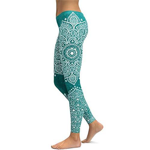 WHFDDDK Mandala Leggings Yoga Hosen Frauen Fitness Push Up Enge Tragen Fitnesstraining Sport Laufhose Leggings Elastische Hosen