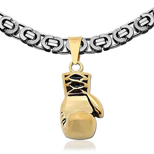 tumundo Edelstahl-Kette Halskette Ø 10mm 55cm Königskette Ketten-Anhänger Boxhandschuh Sport Boxen Anhänger Herren-Kette, Variante:Variante 10