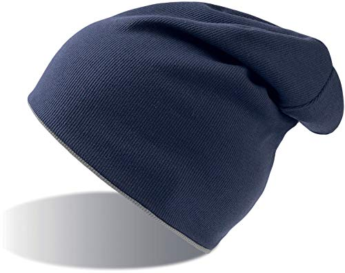 Atlantis Extreme Reversible Jersey Slouch Beanie - Navy/Grey - OS