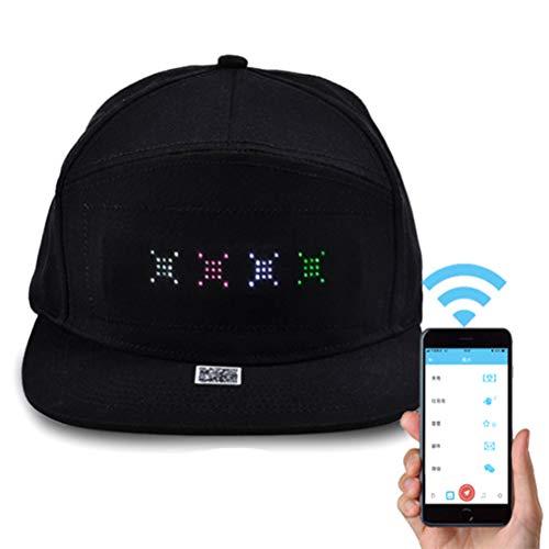 LED Smart Cap Handy APP Gesteuerte Display Worte Bildschirm LED Baseballmütze Flat Peak LED Cool Hat für Party Club