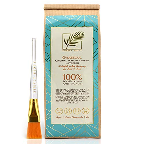 Simply Bioty Ghassoul mit Maskenpinsel - 1kg Marokkanische premium Lavaerde - Bio vegane Wascherde Tonerde - Mineralische Gesichtsmaske Haarwäsche - natürliches Peeling