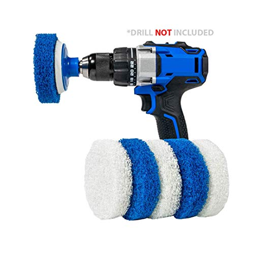 RotoScrub 7 Pack Multi-Purpose Drill Brush Kit for Cleaning Bathrooms, Showers, Tubs, Tile, Floors, Sinks, Toilets, Grout and Grime Removal, Mold/ Mildew Removal, Reversible Blue and White Scrub Pads