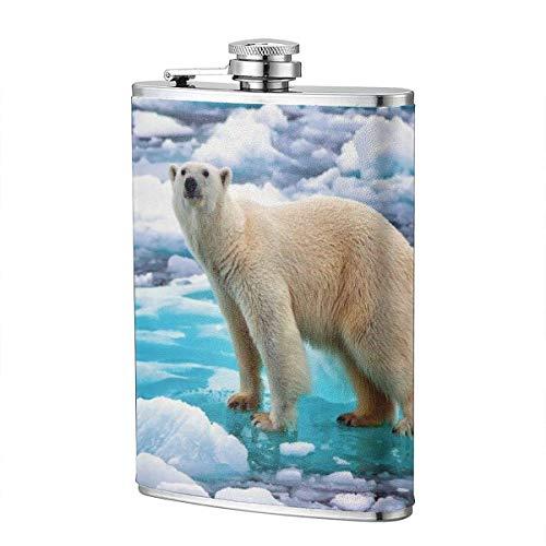 XBYC Schneewittchen Bär auf Eisbergflasche für Alkohol und Trichter Edelstahlflasche zum Trinken von Alkohol, Whisky, Rum und Wodka 8oz