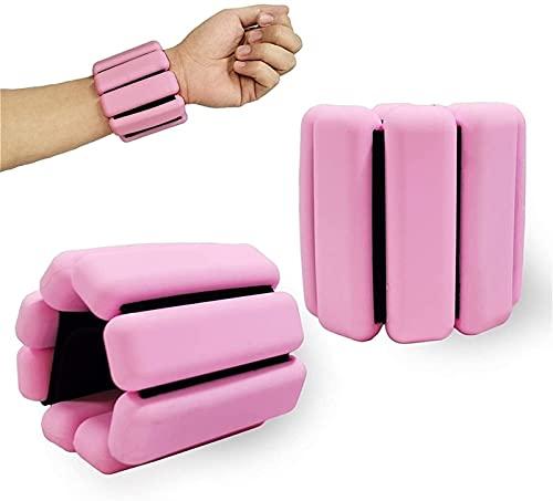 XiuLi Juego de Pesas de muñeca/Tobillo Ajustable, 1 par de Pulseras, muñequeras de Fitness con Soporte para Ejercicio físico para Hombres y Mujeres (Color : Pink)