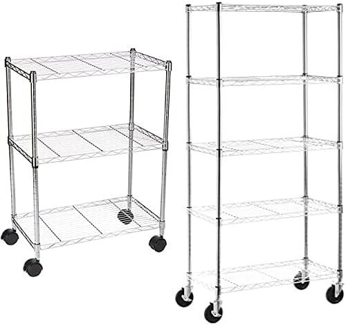 AmazonBasics 5-Shelf Shelving Storage 定価の67%OFF Unit on 新作アイテム毎日更新 4'' Casters Wheel