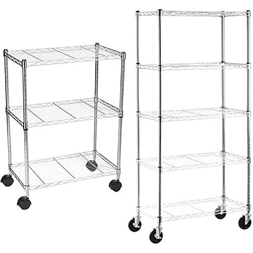 AmazonBasics 5-Shelf Shelving Storage Unit on 4'' Wheel Casters , Chrome Silver (30L x 14W x 64.75H) & 3-Shelf Heavy Duty Shelving Storage Unit on 2' Wheel Casters, Chrome (23.2L x 13.4W x 32.75H)
