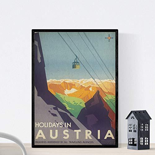 Nacnic Vintage Poster Vintage Poster Europäische Berge. Weihnachten in Österreich. A3 Größe