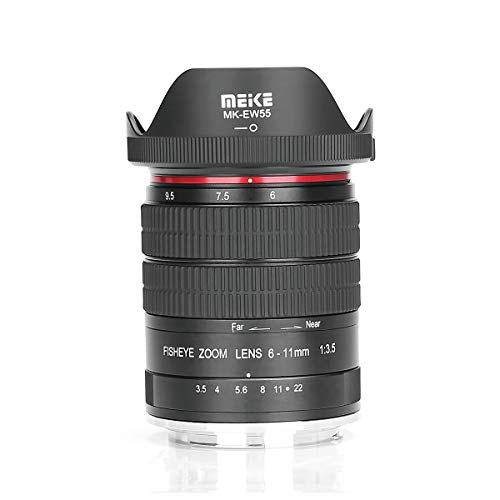 MEIKE 6-11mm F/3.5 Fish Eye Zoom Lens APS-C Frame Compatible with Canon Camera Such as 70D 80D