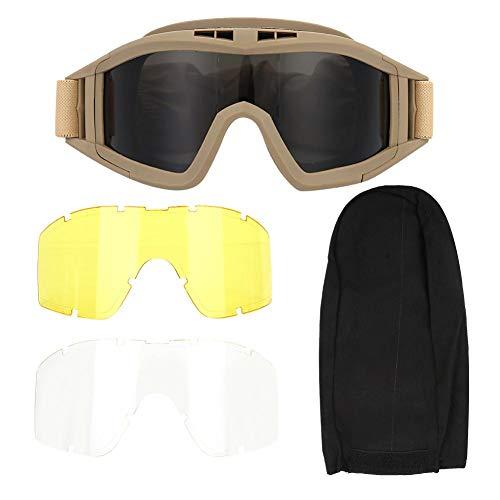 Tactics Goggles Antipolvo antiniebla Gafas Protectoras para los Ojos con Lentes Intercambiables Protectoras para el Ciclismo en Bicicleta Conducción del Paintball táctico Airsoft Ski(Khaki)