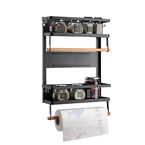 VIAV Design Mehrschichtig Hängeregal für Kühlschrank Wand Lagerregal Magnetischer Speicher Organisator Regal mit Rollenhalter für Küchenregal Küchen Metalloberflächen
