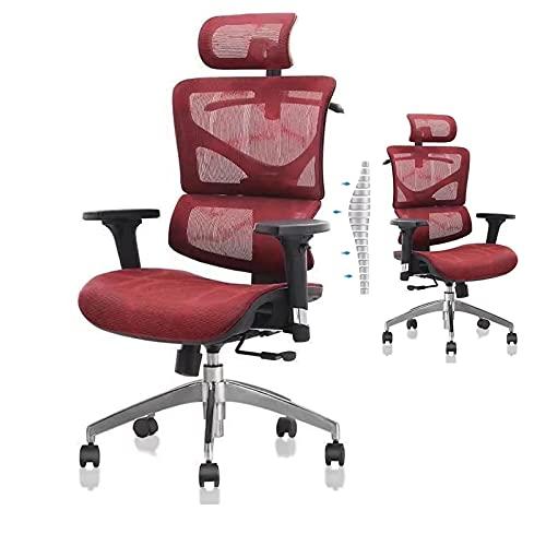 HGTRH Drehstuhl Verstellbare Rückenlehne, Arbeitsstuhl Mit Lordosenstütze Chefsessel Mit Liegefunktion Schreibtischstuhl Verstellbare Armlehne Atmungsak Kopfstütze Sitzhöhe Einstellbare