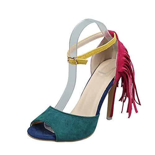 Sandalias Mujer de Tacon Alto de Moda con Borla,2021 Verano Zapatos Sexy de Tacon Alto Mujer dePunta Descubierta Sandalias Zapatos Tacón Ancho Alto