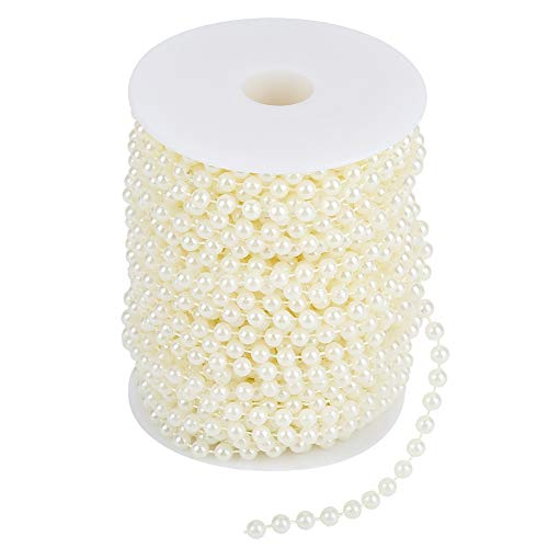 Akozon 25 m/rollo de molienda perlas de alambre de perlas guirnalda cadena DIY decoración de la boda 6 mm(Beige)