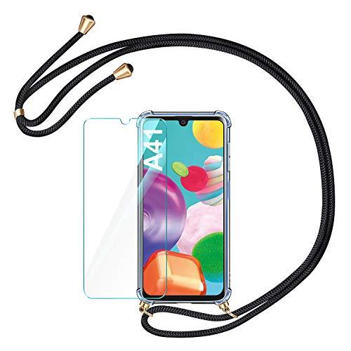 AROYI Handykette Handyhülle & Panzerglas Schutzfolie kompatibel mit Samsung Galaxy A41 Hülle mit Kordel zum Umhängen Necklace Hülle mit Band Transparent Hülle Schwarz Gold