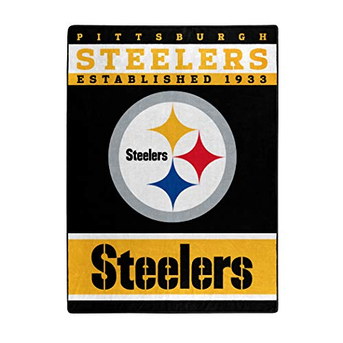 """The Northwest Company Officially LicensedNFL Pittsburgh Steelers """"12th Man"""" Plush Raschel Throw Blanket, 60"""" x 80"""", Multi Color"""