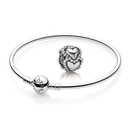 Original PANDORA Starterset / Geschenkset 925er Sterling Silber - 1 Armreif - Größe 21 cm - Art.Nr. 590713-21 und 1 Silber Charm Herzen - Art.Nr. 790448