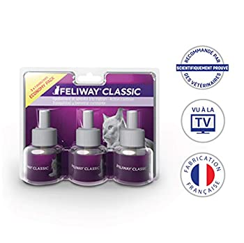 Feliway Classic – Anti-Stress pour Chat – Pack de 3 Recharges - 3 x 48 ML