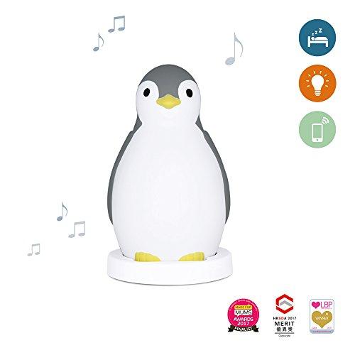 Zazu Kids Pam The Penguin slaaptrainer en nachtlampje met draadloze luidspreker modern grijs