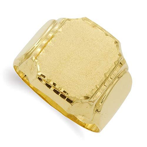 Sello oro 18k liso hombre centro rectangular bordes tallados laterales lisos - Personalizable - GRABACIÓN INCLUIDA EN EL PRECIO