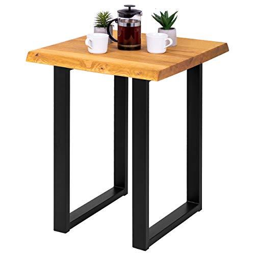 LAMO Manufaktur Beistelltisch Baumkante Couchtisch Küchentisch 60x60x76 cm (LxBxH), Loft, Esche Rustikal/Schwarz, LBB-01-A-003-9005L