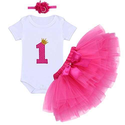 Baby Girls First Birthday Clothes One-Piece Bodysuit 1st Crown Romper+Ruffle Tulle Skirt+Bowknot Headband 3PCS Set Toddler Infant Smash Cake Outfits for Casual Photo Shoot Hot Pink Age 1 Year Old