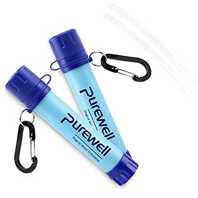 Purewell Outdoor Water Filter Personal Water Filtration Straw Emergency Survival Gear Water Purifier for Camping Hiking Climbing Backpacking(Short)