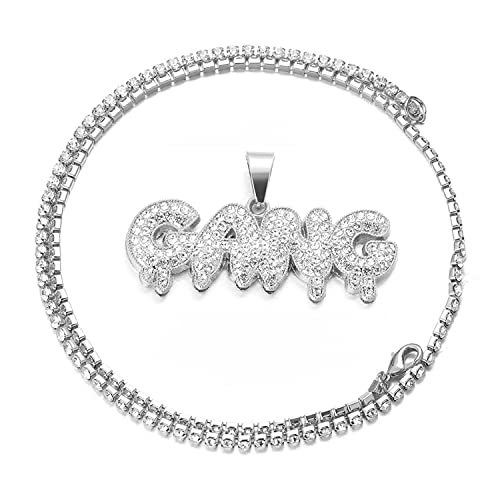 HALUKAKAH Cadena de Oro con Letra Burbuja Gang Iced out,Collar de Diamantes para Hombre Acabado en Oro Blanco Platino con Cadena de Tenis Bebé 50cm Caja