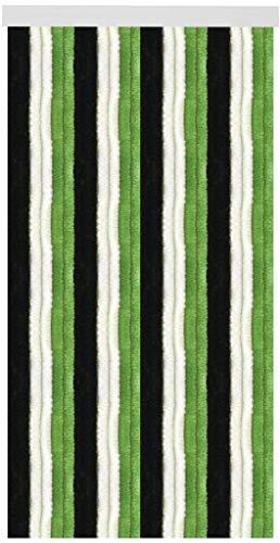 Arsvita Flausch-Vorhang (56x180 cm) in der Farbe: Schwarz-Weiß-Grün, viele weitere Größen erhältlich