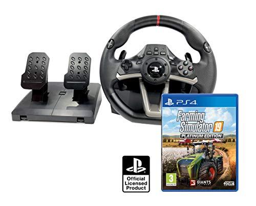 Volante y Pedales PS4 con Licencia Original Sony Playstation 4 RWA + Farming Simulator 19