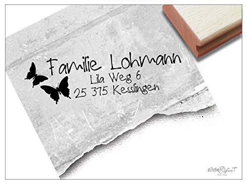 ZAcheR-fineT - individuele adresstempel vlinders - familiestempel gepersonaliseerde naam adres dieren, cadeau voor kinderen