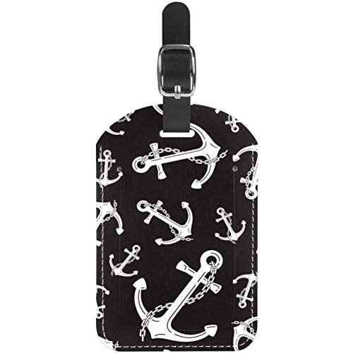 Unknown Etiquetas para equipaje con cadena de ancla, náutica marítima, de cuero, para maleta de viaje, 1 paquete