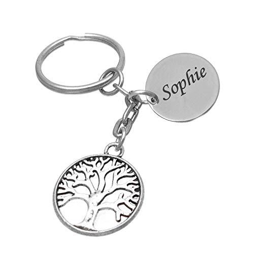Porte-clés Arbre De Vie Gravure Personnalisée sur Médaille Bijou Femme
