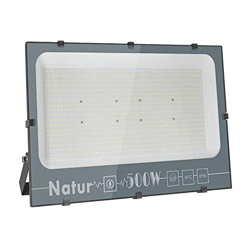 500W Focos LED Exterior, Luz Exterior Potente Luces 50000LM Foco Proyector LED, IP66 Impermeable lluminación de Seguridad 6000K Blanco Frío Aplique Exteriores Lampara para Jardín Garaje Patio Fábrica