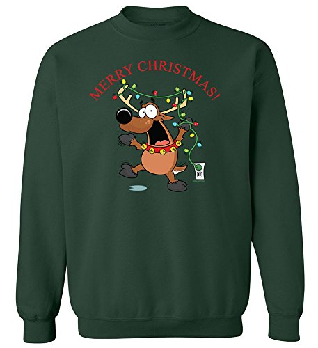 Joe's USA Christmas Reindeer Crewneck Sweatshirt-4XL-ForestGreen/c