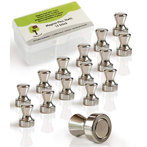 OfficeTree 15 Chinchetas Magnéticas de plata con imanes potentes - Imanes de neodimio pizarra magnética - Ideal para frigoríficos Rótulos de oficina Decoración