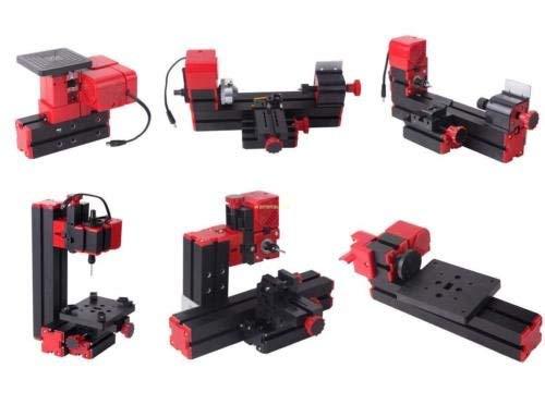 Ridgeyard 6 in 1 Mini Drehmaschine Drehbank Metalldrehbank Metalldrehmaschine DIY-Stichsäge